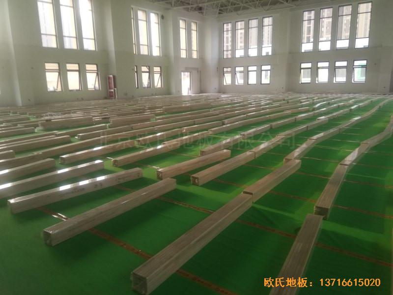 山东济南唐冶城篮球馆运动木地板铺装案例3