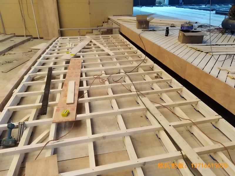 河北廊坊益田同文学校舞台体育木地板施工案例0