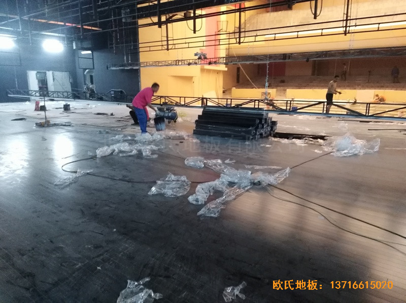 河北廊坊益田同文学校舞台体育木地板施工案例5