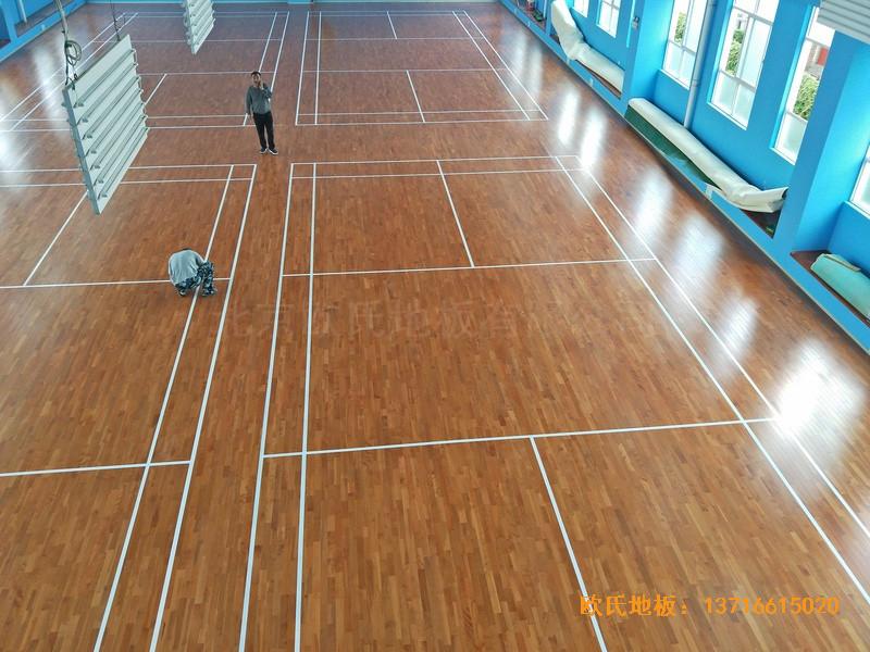 云南公安局小区羽毛球馆运动木地板安装案例5