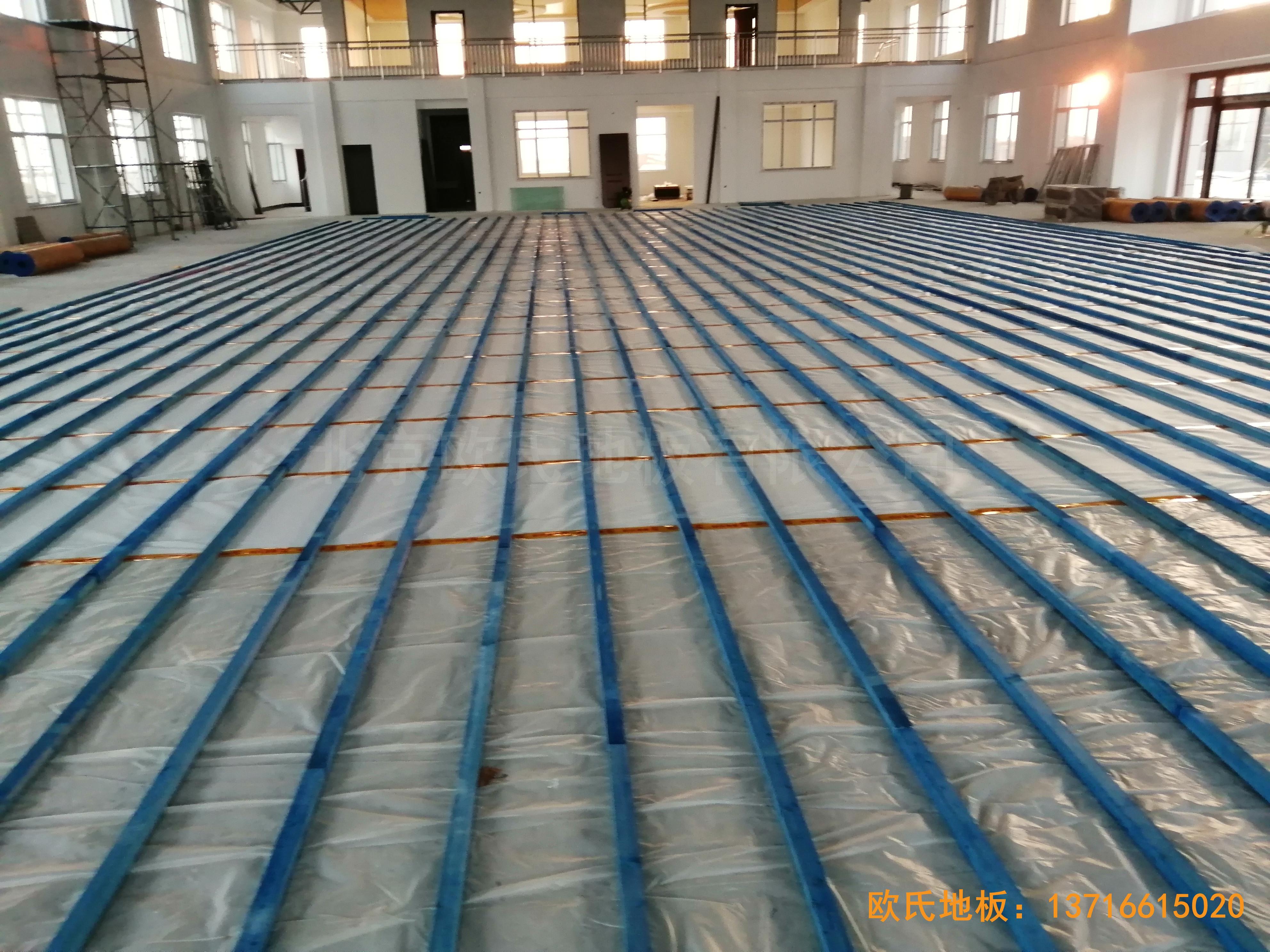 莱州银海工业园消防特训队篮球馆体育木地板铺装案例1