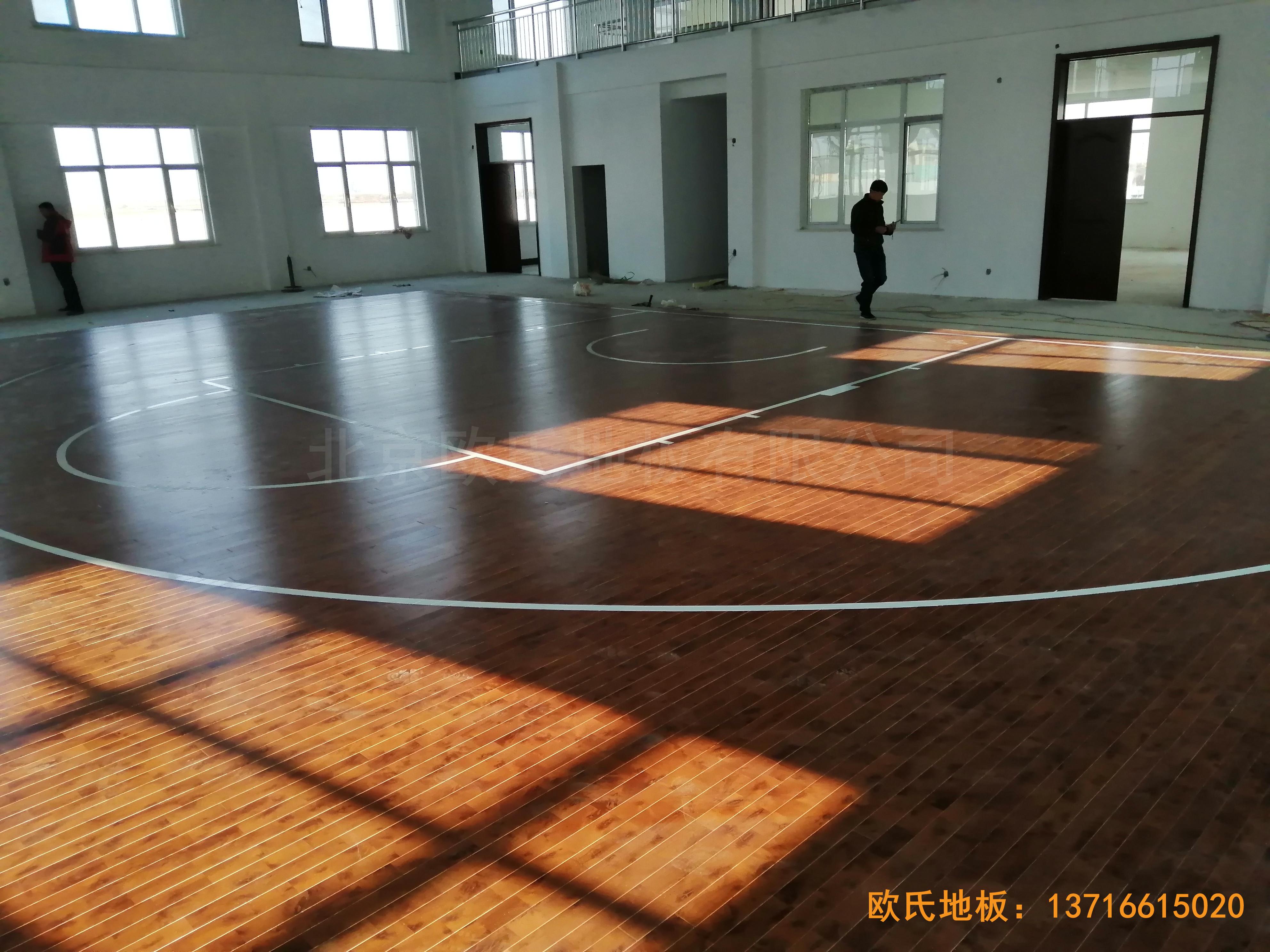 莱州银海工业园消防特训队篮球馆体育木地板铺装案例5