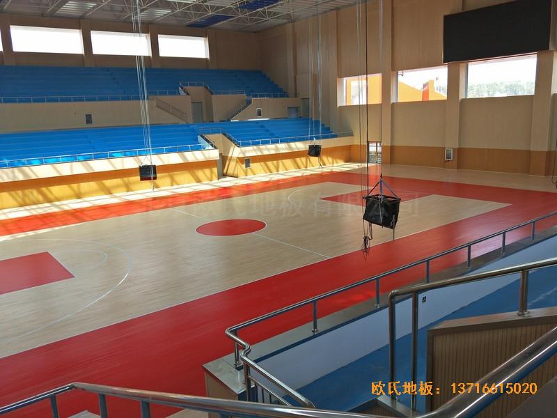 云南楚雄医专学院篮球馆运动地板铺装案例0