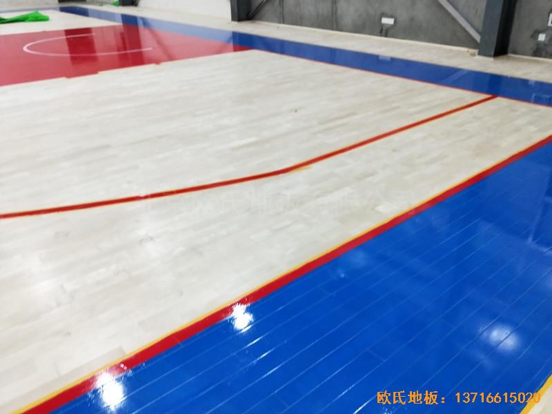 四川阿坝州马尔康消防支队篮球馆体育地板铺装案例4