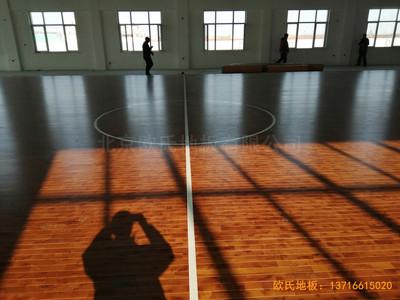 莱州银海工业园消防特训队篮球馆体育木地板铺装案例
